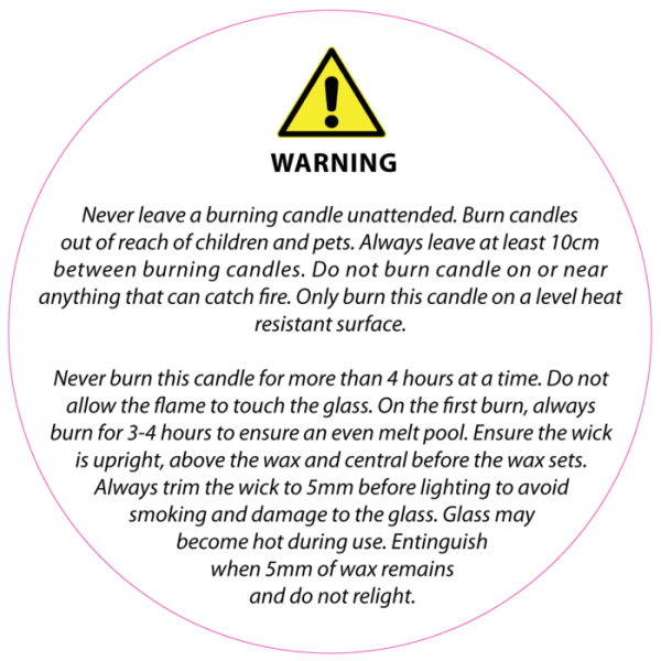 warning label for candles