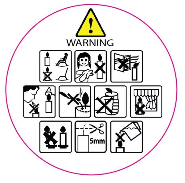 warning labels candles